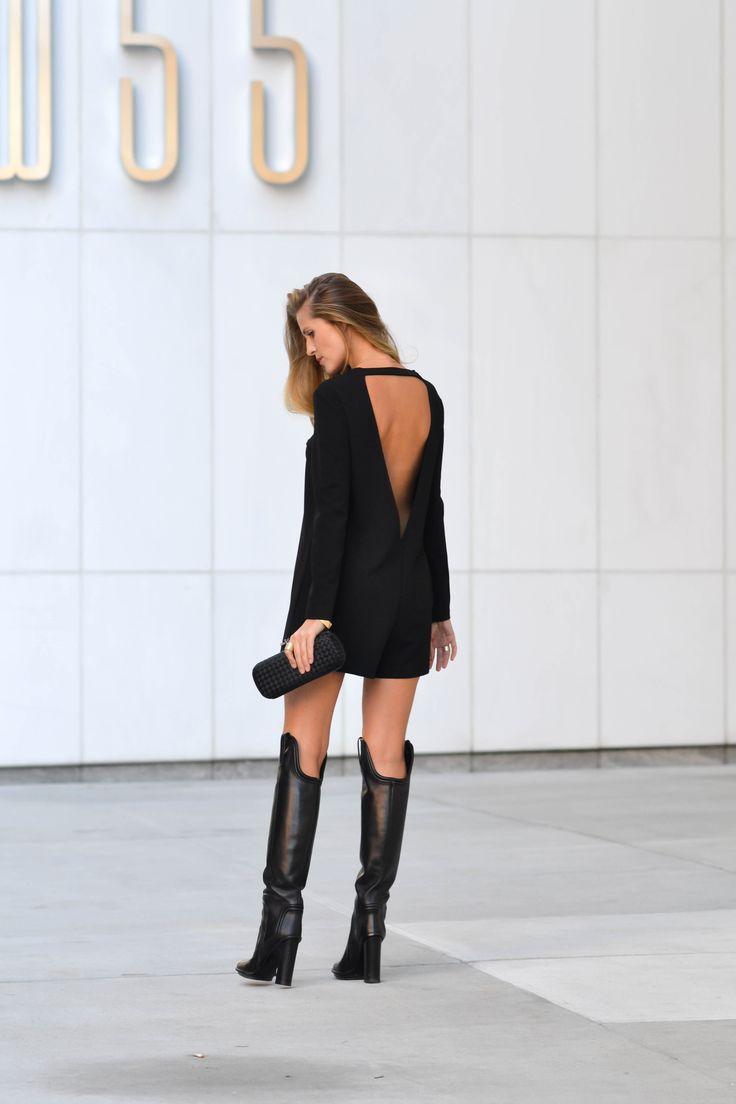Bag Bottega Veneta, black jacket Calvin Klein, jumpsuit Zara, boots Gucci.