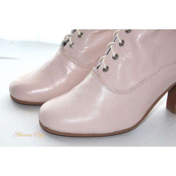 Victorian Boots in Light Pink leather victorian Shoes in Blush Powder... (835 RON) ❤ liked on Polyvore featuring shoes, boots, genuine leather lace up boots, leather boots, genuine leather shoes, real leather boots and real leather lace up boots