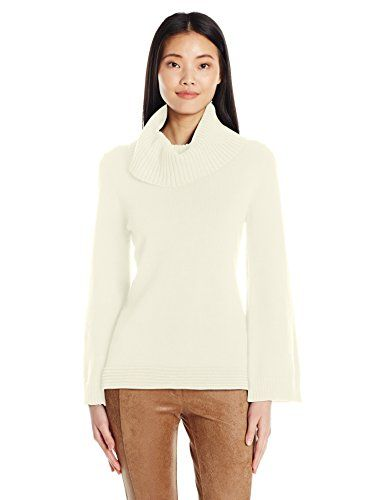 Nanette Nanette Lepore Women's Ls Cowl Neck Sweater W/ Back Tab, Cannoli Cream, XS