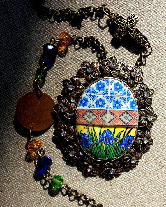 Portugal BLUE IRIS Antique Tile Replica COLLAGE Necklace  by Atrio,