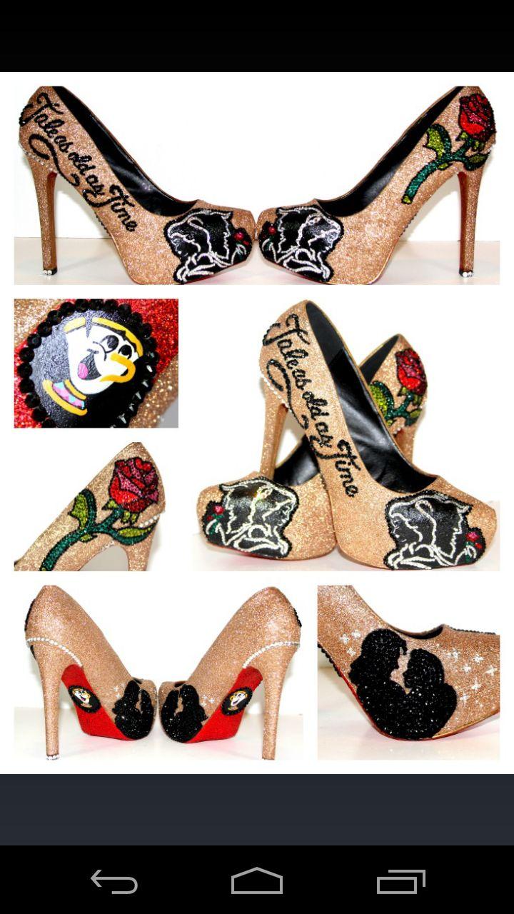 Disney custom made wedding heels from wickedaddiction on Etsy