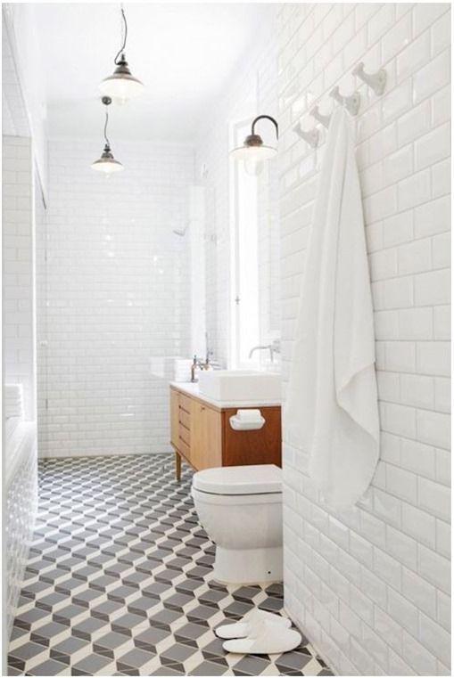 modern geometric pattern in bathroom, floor to ceiling subway tile, linda bergroth