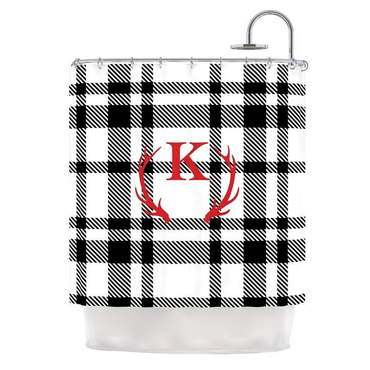 "KESS Original ""White Plaid Monogram"" Shower Curtain"