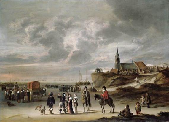 Cornelis Beelt (1630-1702). Elegant gezelschap op het strand van Scheveningen met in de verte de Engelse vloot, die Koning Charles II heeft opgehaald. (Coll. Christies.com). De schaduwen worden langer en de Engelse vloot is nauwelijk meer zichtbaar. Het strand is leeggelopen. Bezoekers worden opgehaald met een huifkar, die toen gebruikt werd als een soort buslijn tussen het strand van Scheveningen en Den Haag.