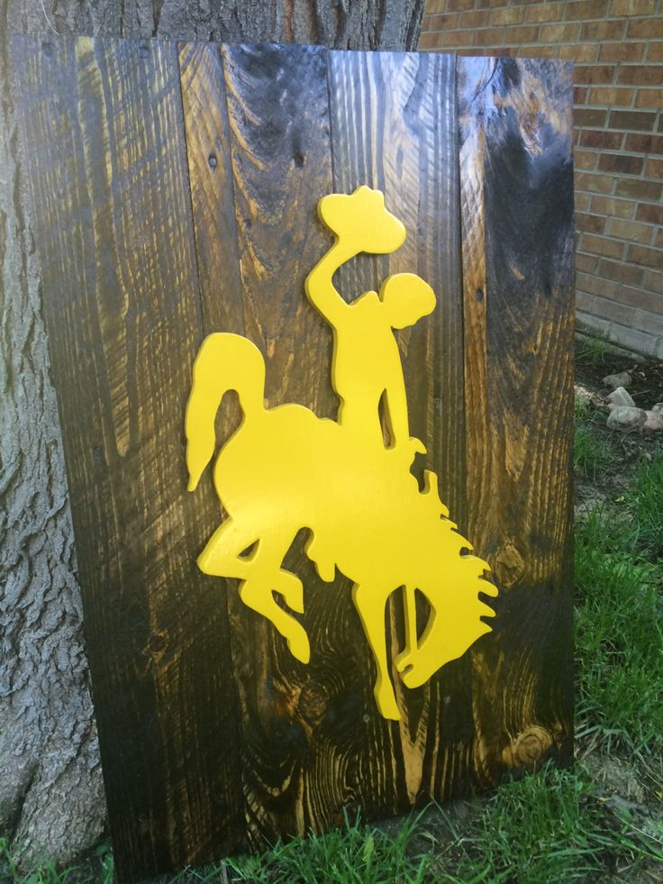 University of Wyoming Cowboys, Cowgirls logo, rustic, reclaimed wood, wall art, home decor, Laramie, WY, Guy Holt, Steamboat, bucking horse by CraigMoodieDesigns on Etsy