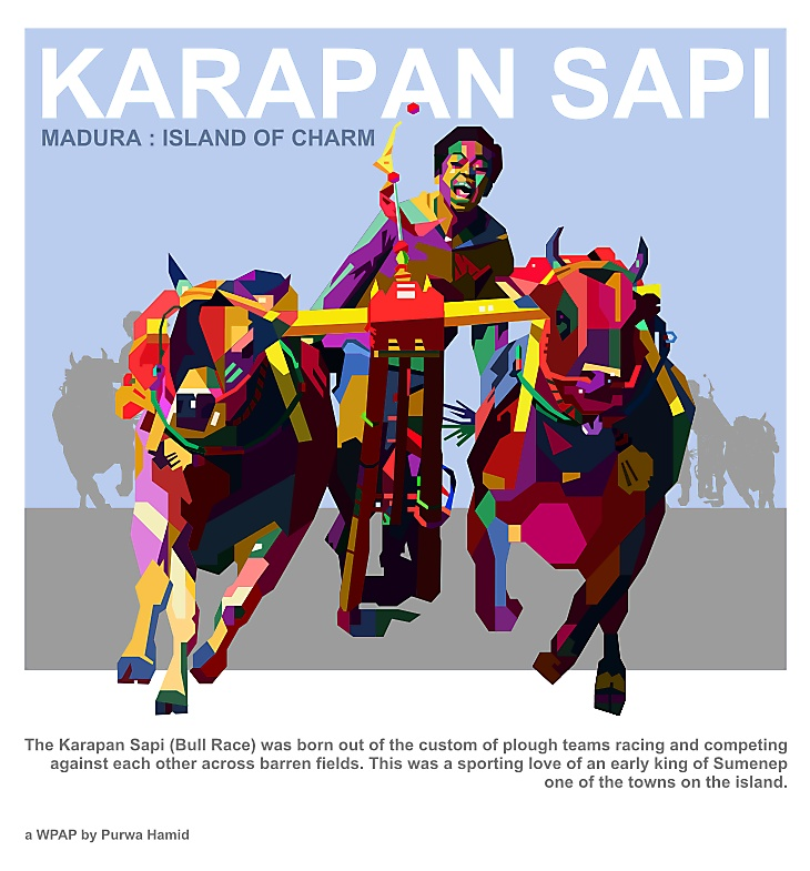 """Karapan Sapi"" : Indonesia's Madura Island traditional cow drag race. A pair of cows drag a wooden plow where a jockey stands to race with other cow-racer on a 100 m lane typically lasting teens of seconds to a minute."