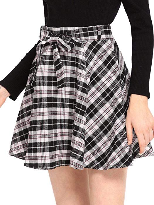 af442cf708 Milumia Women Plaid Mini Skater A line Skirt Belted Zipper Pleated Business  Casual Black L at Amazon Women's Clothing store:
