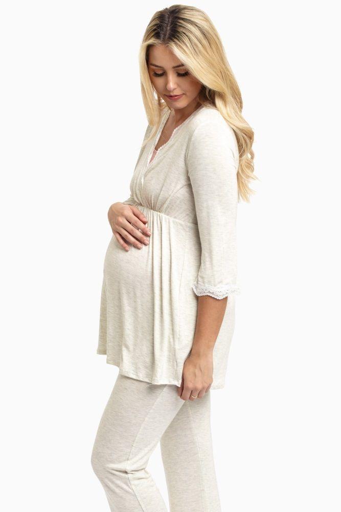 Beige-Lace-Trim-Maternity-Pajama-Top