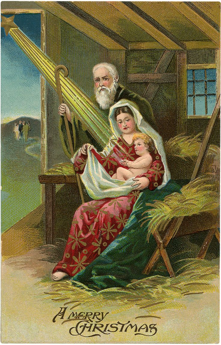 Old Colorful Manger Scene Postcard!