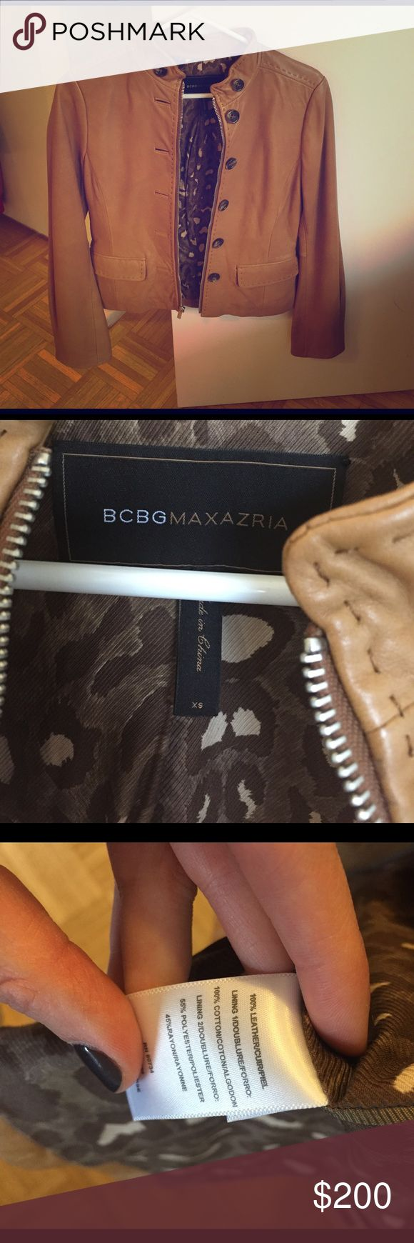 BCBG Max Azria camel leather jacket This gorgeous leather jacket is in pristine condition. Military style buttons and a zipper for a versatile look. Perfect for spring, a timeless piece you can wear for years to come. BCBGMaxAzria Jackets & Coats Utility Jackets