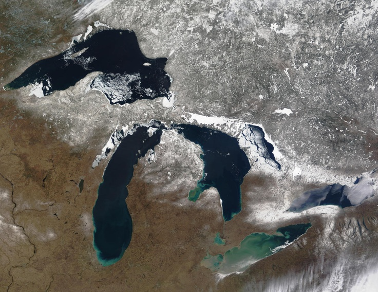 The Great Lakes - (l-r) Superior, Michigan, Huron, Ontario and Erie // Canada–United States border.