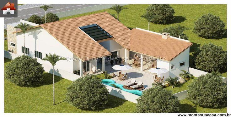 Planta de Casa - 3 Quartos - 187.62m² - Monte Sua Casa