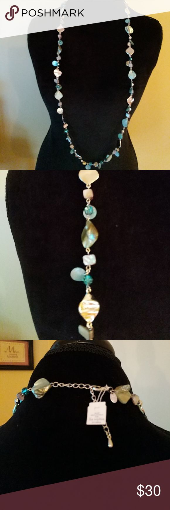 NWT Lia Sophia necklace This necklace is beautiful show tones of silver, aqua and blue. This necklace is absolutely stunning can be worn long or doubled up for a shorter version. Lia Sophia Accessories