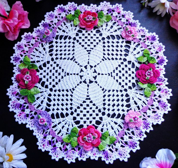 new  hand crochet   doily 12""