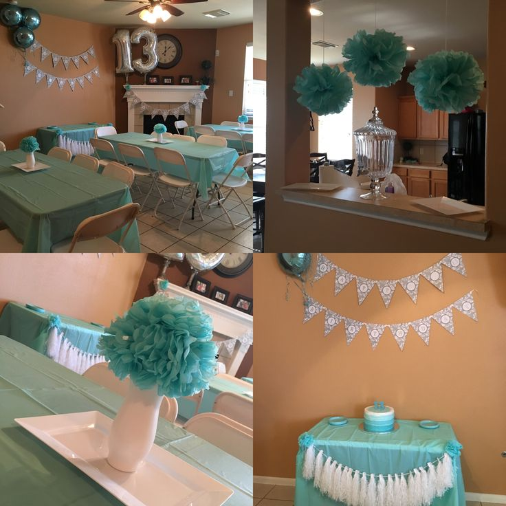 13 birthday simple aqua party for teenager