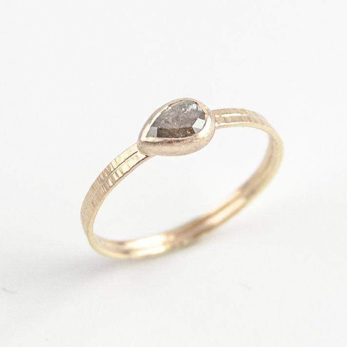 EMI GRANNIS - dark gray teardrop diamond ring www.emigrannis.com