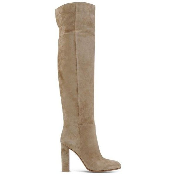 Gianvito Rossi Suede Over-The-Knee Boot (191930 RSD) ❤ liked on Polyvore featuring shoes, boots, neutrals, black thigh high boots, black suede boots, thigh boots, chunky boots and over knee suede boots