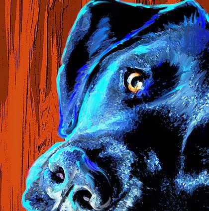Black is not just black. Whimsical Art dogs black lab   greyhound art