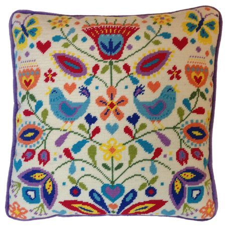 Bring back those summer memories with this bright and colourful summer melody tapestry cushion front kit which has been designed by Suzy Taylor for Bothy Threads.