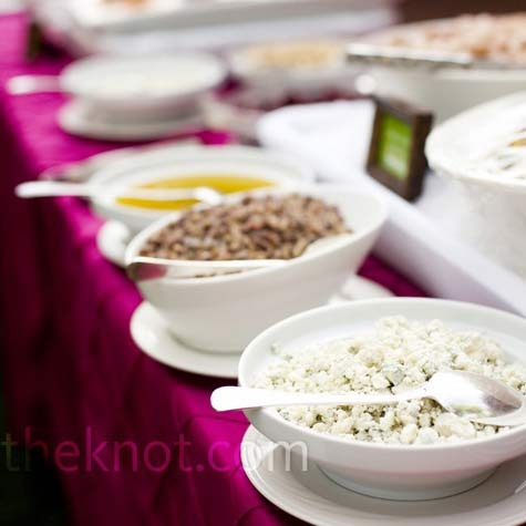 Real Weddings - Enchanted Garden - Buffet Style Wedding Menu. buffet style cake and ice cream bars. fruit, veggie, bread and dip, tortilla wrap, meat, cheese and cracker trays and hummus and pita for drunk munchy snacks.