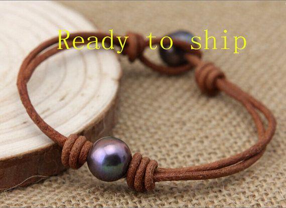 Pulsera de cuero C-B044 perla, Pulsera perlas cuero, pulsera de perlas, pulsera de cuero, una pulsera de perlas, pulsera de cuero negro, mayoristas