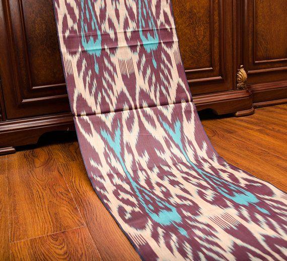 Burgundy turquoise cotton ikat fabric ikat fabric ikats by SilkWay