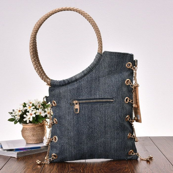 Elegant Rhinestone Luxury Trendy Design Casual Fashion Denim Women Bag Jeans Shoulder Bags Lady Stylish Handbags Free Shipping