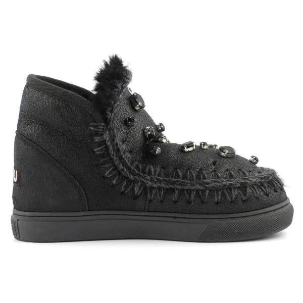 MOU Mini Eskimo Sneaker With Rhinestones Women Boots Cracked Black - MOU Christmas Day Deals (289€->215€) AVAILABLE NOW! #christmas #ChristmasSale #christmasdeals