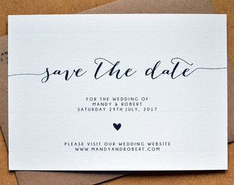 PRINTABLE Poppy Save the Date PDF – Personalised Simple Calligraphy Heart Wedding Save the Date – DIY Digital Download Only