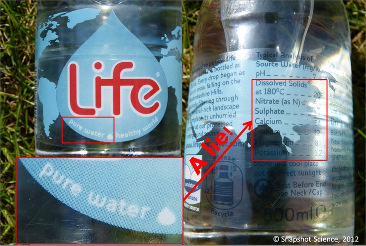 Water lies...  Can students explain why this mineral water is not pure?