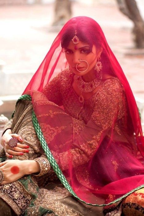 #bridal #style traditional look with gunghat/ red scarf, hoop-nose ring, choker necklacke and tikka