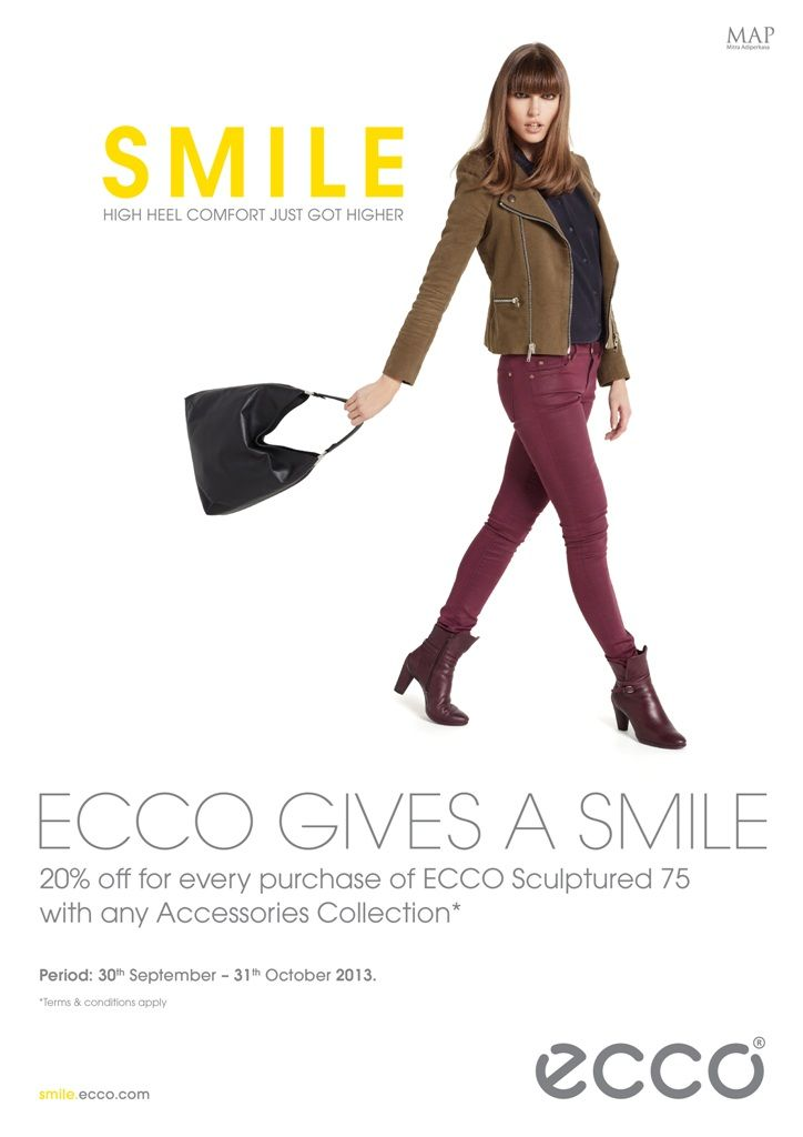 Ecco gives a smile!- Get 20% off purchases of ECCO Sculptured 75 with any accessories collection!