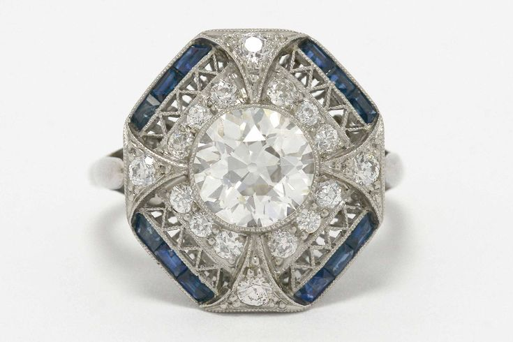 Details About Large Diamond Blue Sapphires Art Deco Era