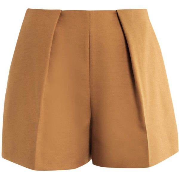 Carven Full Pleat Shorts (3 990 UAH) ❤ liked on Polyvore featuring shorts, bottoms, pants, short, short shorts, loose shorts, zipper shorts, loose fit shorts and cotton shorts