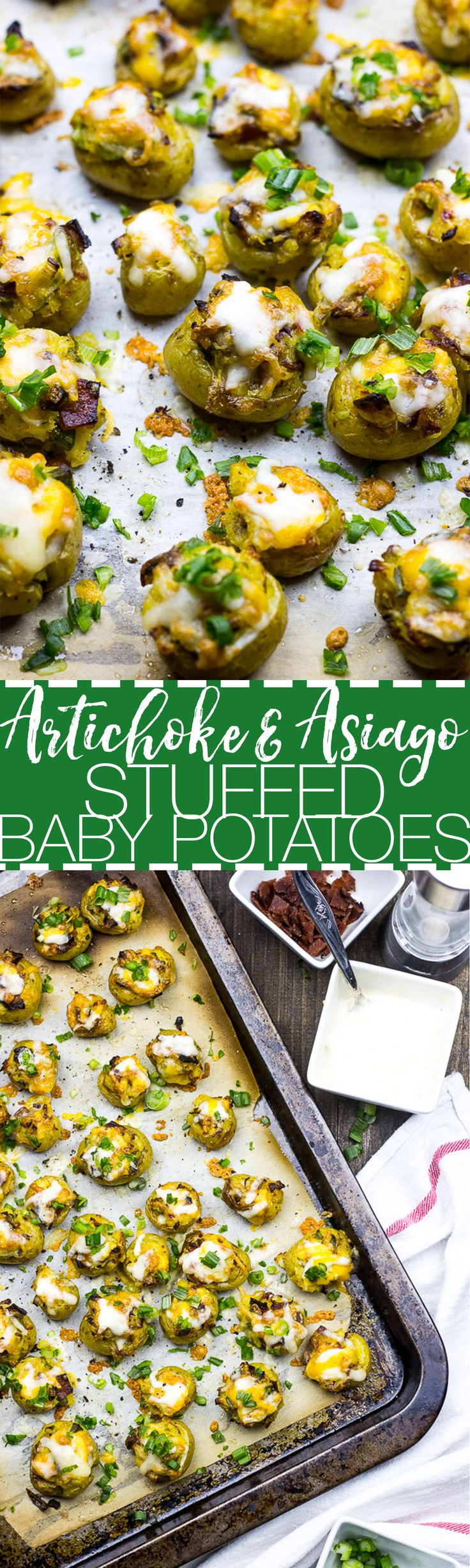 Artichoke & Asiago Stuffed Baby Potatoes | A bite-sized version of twice baked potatoes with bacon & scallions