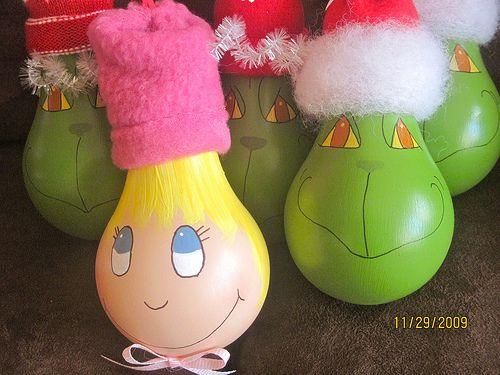 Grinch and Cindy Lou Who lightbulb ornaments by threegirlsandaboy, via Flickr