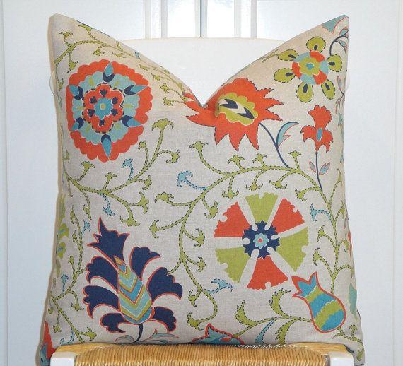 Decorative Pillow Cover   Floral Suzani   Orange   Teal   Citrine   Navy  Blue   BOTH SIDES Or Front Only91 best coastal color inspiration  navy  teal  orange  and grey  . Orange And Navy Blue Bedroom. Home Design Ideas