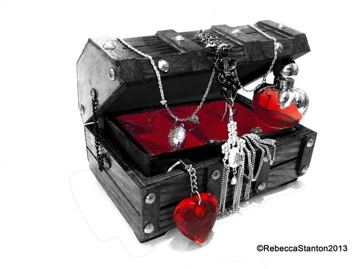 Example of Photography by Rebecca Stanton  Treasure chest , jewellery, Nina ricci, locket, red heart, key chain