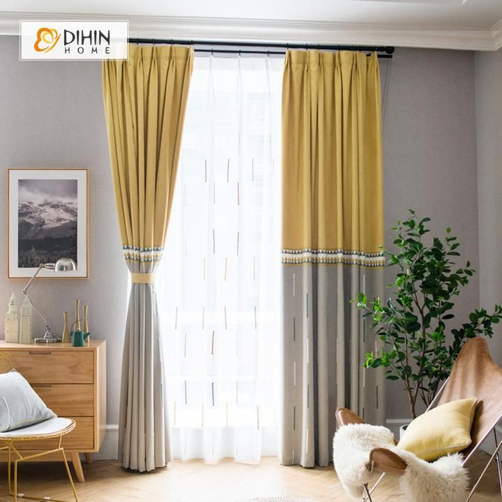Dihin Home Embroidered Yellow And Grey Blackout Grommet Window
