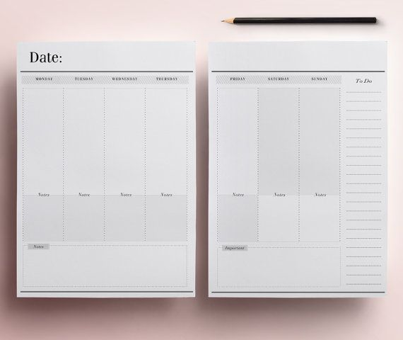 Blank Monthly & Weekly Planner Across 2 Planner Pages - Printable Planner…