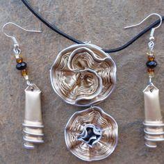 Bijoux parure collier boucles d'oreilles capsule café nespresso, dulsao, or, doré, clair