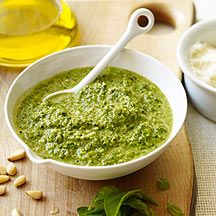 Weight Watchers Pesto using chicken broth and just a touch of EVOO, light and delicious!