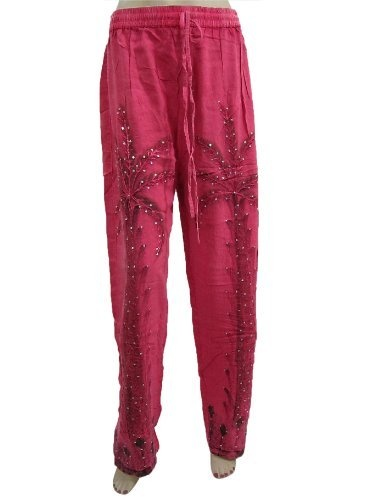 """Palazzo Pant for Women Pink Embroidered Beaded Self Tie Yoga Trouser Pants 42"""" Mogul Interior, http://www.amazon.com/dp/B009WIJZZM/ref=cm_sw_r_pi_dp_wcrMqb0QEVC0S"""
