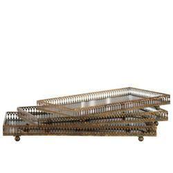 Rectangular Gold Mirror Tray Pierced Metal Sides Set of 3-Benzara