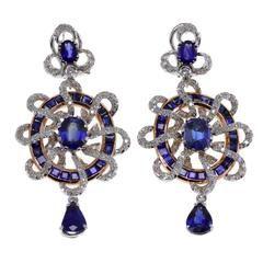 Sapphire Diamond Gold Wheel Earrings - Signed Luise