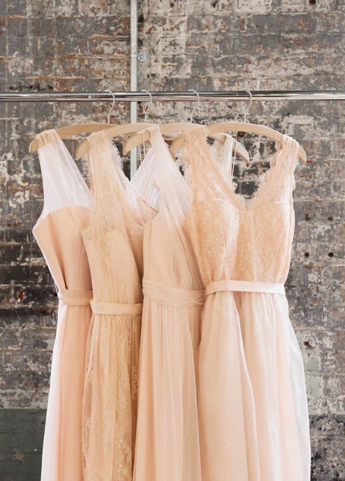 Such a soft pretty peach color. Mix styles with same lengths is a great to make your bridesmaids feel unique