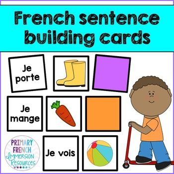 French sentence building cards - great for daily 5 / 5 au quotidien centres and for small group instruction in your French Immersion classroom!                                                                                                                                                                                 More