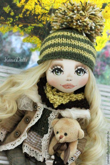Дина - оливковый,кукла,текстильная кукла,шерсть,осень,трикотаж,хлопок