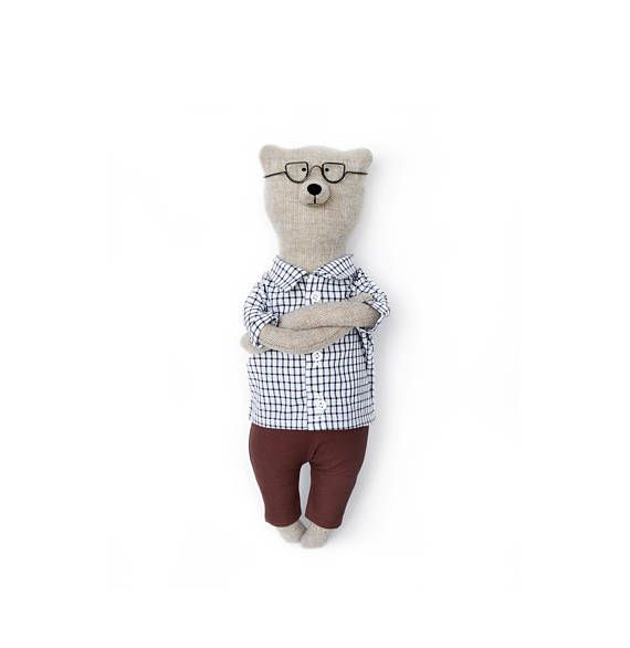 Tweed Teddy Bear named Philippe. Soft animals toys by