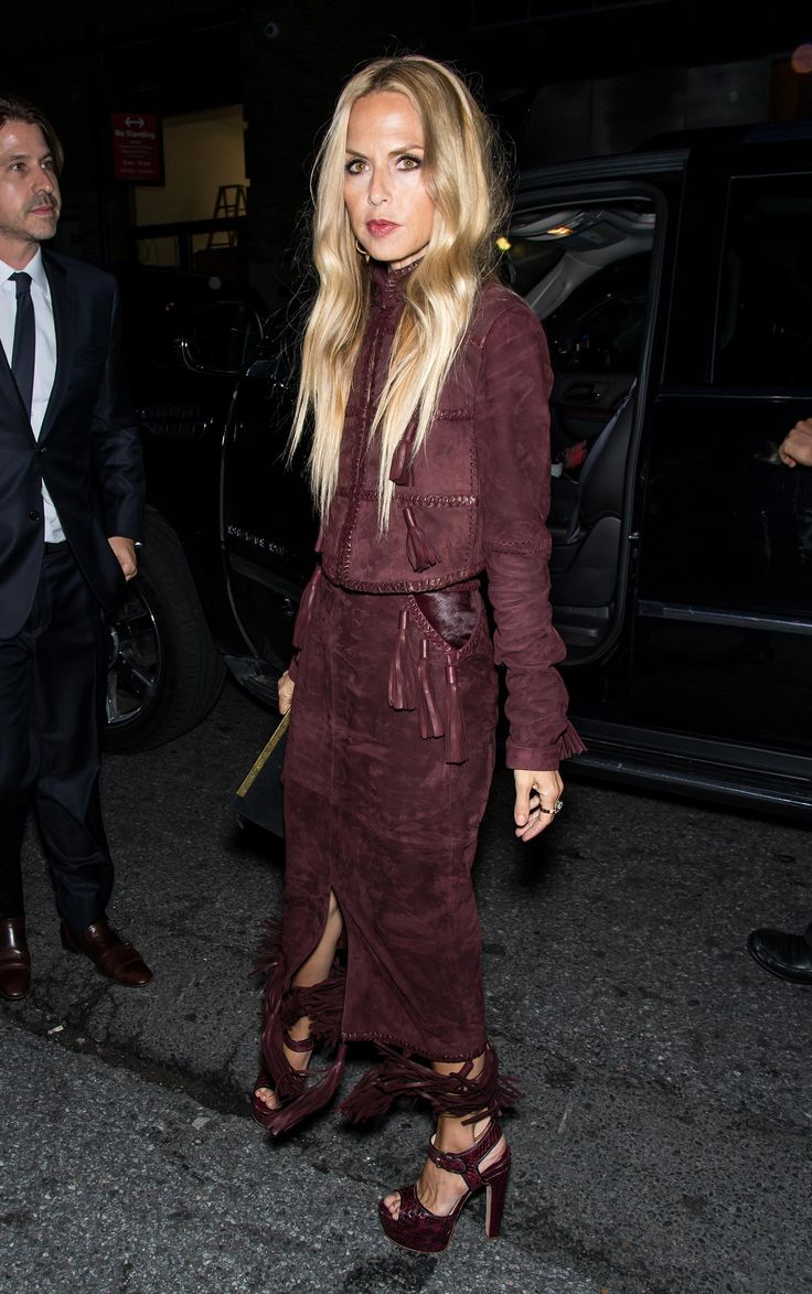 Celebrity Style at New York Fashion Week Spring 2016 - Rachel Zoe in a  monochromatic maroon suede ensemble + matching heeled sandals